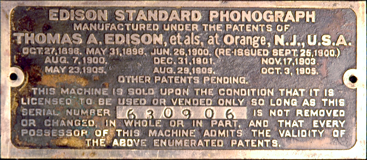Edison Standard Patent Plate Notes