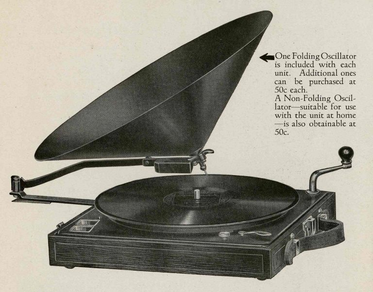 the portable phonograph This portable phonograph, or record player, was used by jehovah's witnesses to play messages from their religious leader as they went in search of new followers.